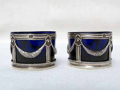 Pair Antique French Silver & Blue Glass Salt Cellars Napoleon III  Neoclassical