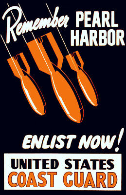 """Remember Pearl Harbor, Vintage WWII Recruiting Poster 11"" x 17"" Reprint"