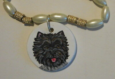 Cairn Terrier dog Beaded Necklace Hand Painted Ceramic Pendant