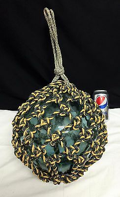 Old Japanese Patch Mark Glass Ball Fishing Float Nautical Buoy Unusual Rope 36""