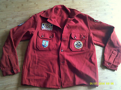 Vintage BSA Boy Scouts RED WOOL Jacket WITH 70's era PATCHES  Small