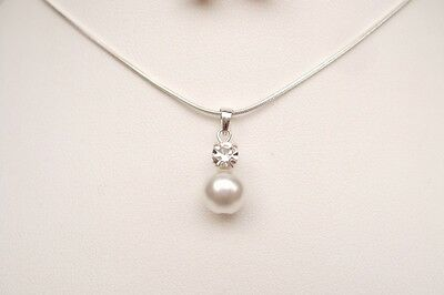 Sterling Silver Pearl And Diamante Bridal Necklace Handmade Design Jewelry Gift
