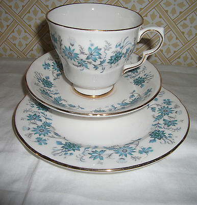 Colclough Bone China Blue And White 'braganza' Tea Trio