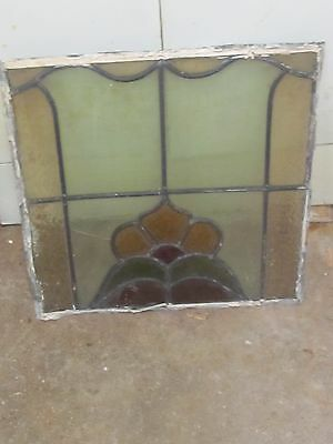 Vintage Leaded Stained Glass  Glass  Panel  17 X 17
