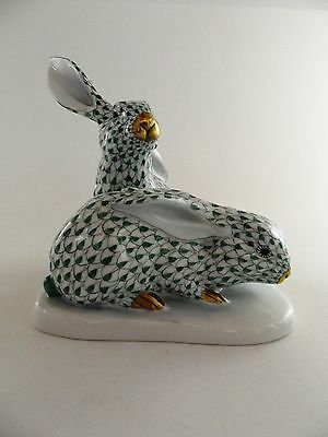 Herend Rabbits In Green Fishnet Pattern No 5332