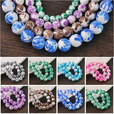 Wholesale Spots Coated Glass Round Loose Craft Beads lot 6mm 8mm 10mm 12mm