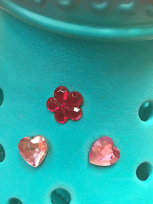 3 Shiny Pink Gem Hearts and Flower Shoe Charms For Crocs and Jibbitz Wristbands