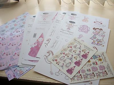Set of Paper Nation decoupage,background papers and stickers-girl theme