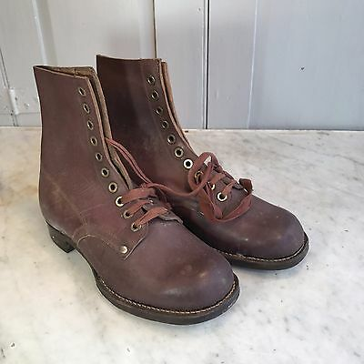 Antique French childs brown leather hobnailed boots size 33 display only