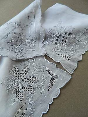 Three antique white hand embroidered hankies / handkerchiefs - weddings gifts