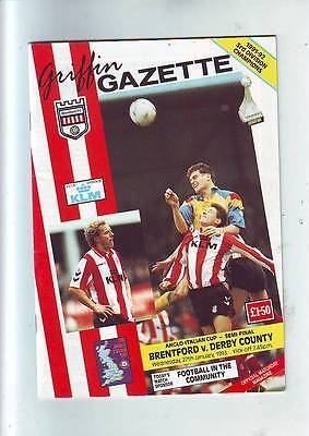 Brentford v Derby County 27/1/93 Anglo Italian Cup Semi Final