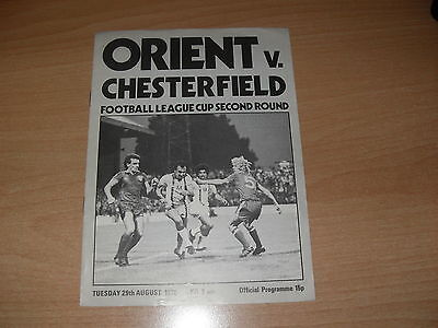Orient v Chesterfield 29/8/78 FL Cup 2nd rnd