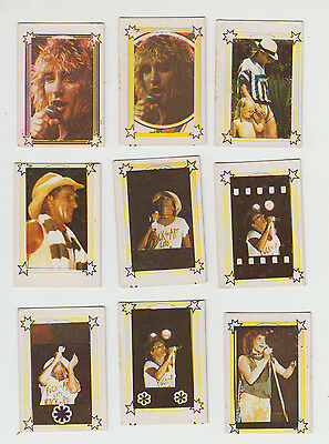 ROD STEWART  Lot of x9 RARE ISRAELI VINTAGE Hebrew TRADE CARDS 70's