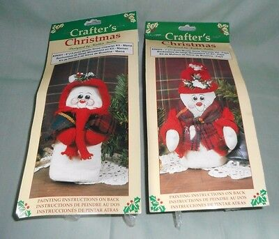 LOT OF 2 CRAFTERS CHRISTMAS mr and mrs. muslin snow characters CRAFT KIT