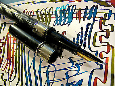 vtg Very Flex Over Feed 14k Nib Eyedropper STERLING SILVER Fountain Pen flexible