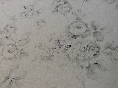 Vintage Linen Rambling Rose Grey/beige grey 280cm Double Width Curtain Fabric