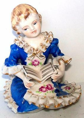 Vintage DRESDEN LACE STYLE Figurine CHILD GIRL READING Figurine Wales Japan Mark