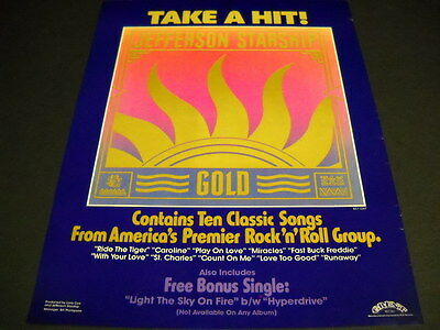 JEFFERSON STARSHIP Take A Hit Of GOLD original 1979 PROMO POSTER AD mint cond