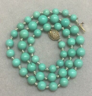 Vintage Chinese Natural Turquoise Beads Necklace SILVER Clasp 32 Grams