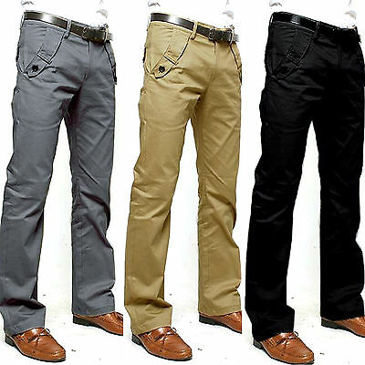 Mens Cotton Casual Formal Chinos Pants Slim Straight-leg Business Jeans Trousers