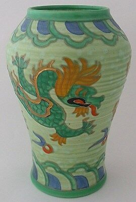 Fabulous Crown Ducal Manchu Green Dragon Vase Designed By Charlotte Rhead