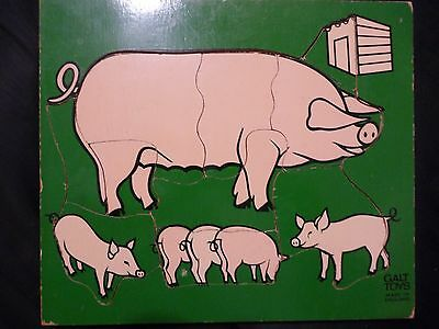 Vintage Galt Toys - PIGS & STYE - Wooden Tray Puzzle - RARE - 1970's