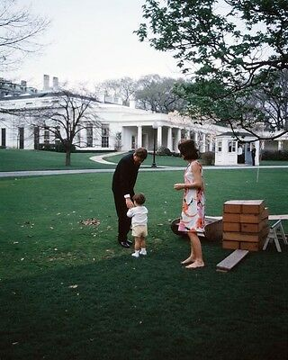 President John F. Kennedy with Jackie and JFK Jr. at party New 8x10 Photo