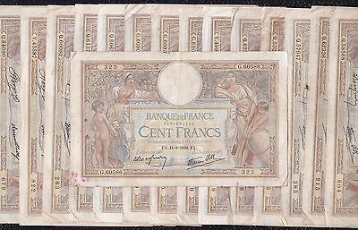15 Pcs of 100 Francs from France