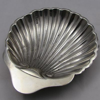Antique Solid Silver Shell Shaped Butter Dish Sheffield 1913 Harrison Brothers