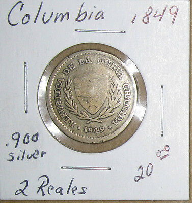 Columbia 2 Reales 1849,.900 Silver, Good+
