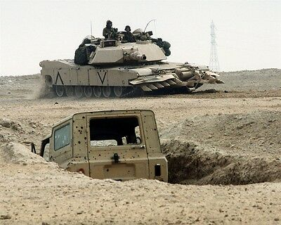 1991 Desert Storm Marine M1A1 Abrams with Mine Clearing Plow 8x10 Photo
