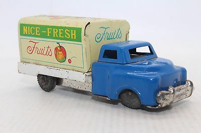 VINTAGE WORKING 1950s JAPAN FRICTION TIN - Fresh Fruit Delivery Truck