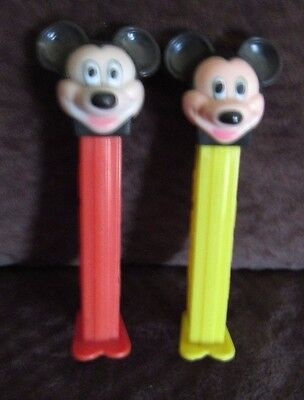 Vintage Disney Lot Of 2 Mickey Mouse Pez Red And Yellow