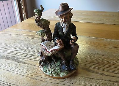 Vintage figurine - old man/hobo holding a pipe and book, made in Japan