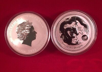 2012 Australia Lunar Series One Ounce Silver Year Of The Dragon Privy Mark Coin