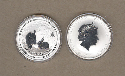 2011 Australia Lunar Series One Ounce Silver Year Of The Rabbit Coin