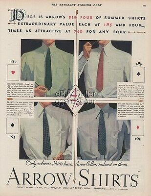 1929 Arrow Shirts Cluett Peabody & Co Troy NY 1920's clothing men's fashion Ad