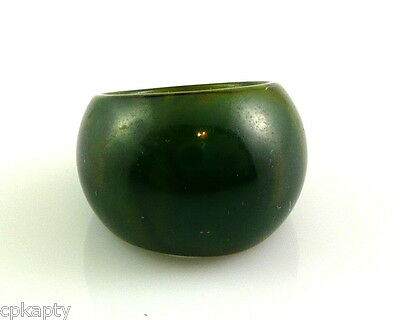 Vintage 1930s 40s Marbled Deep Green BAKELITE Tapered Band RING Size 5