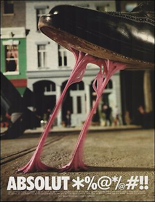 Absolut Vodka Gum Stuck on Bottom of Shoe 1997 ad 8 x 11 advertisement
