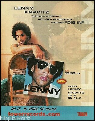 Lenny Kravitz 2001 Lenny featuring Dig In ad 8 x 11 Tower Records advertisement