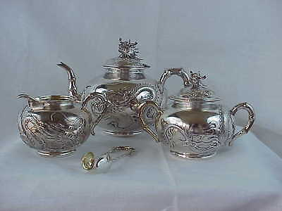 Antique WANG HING Silver Chinese Export Dragon Pearl 1420 Gram 4 Piece Tea Set