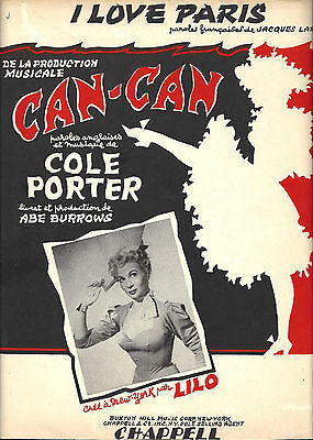 """Lilo """"CAN-CAN"""" Cole Porter """"I LOVE PARIS"""" Jacques Larue 1953 French Sheet Music"""