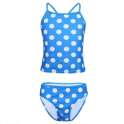 Girls Swimwear Polka Dots Swimsuit Swimming Costume Bathing Suit Tankini Bikini