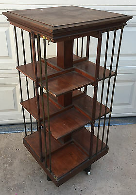 Danner Spinning Revolving Bookcase 1876 Walnut RARE Square Rotating Book Case
