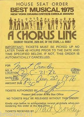 """Mart Crowley (""""The Boys in the Band"""") """"A CHORUS LINE"""" House Seats 1976 Receipt"""