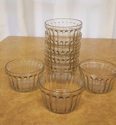 (8) VTG GLASS Jelly/Fruit Ribbed JARS KERR #553 No Lids/Caps Ice Cream, Canning