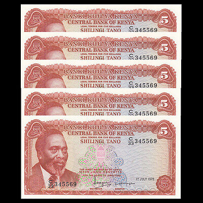 Lot 5 PCS, Kenya 5 Shillings, 1978, P-15, UNC