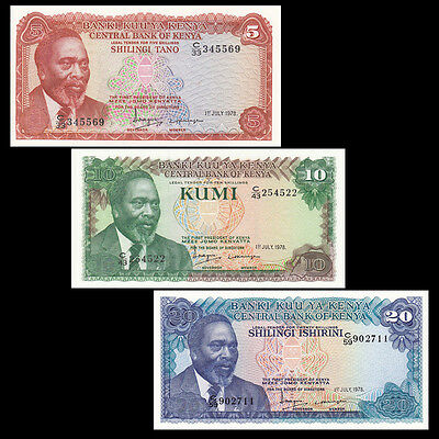 Kenya set 3 PCS, 5 10 20 Shillings, 1978, P-15 16 17, UNC