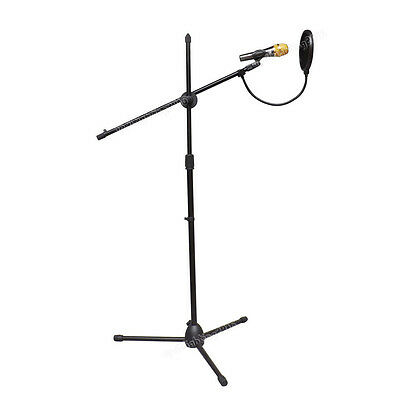 Telescopic Boom Microphone Stand Adjustable Mic Holder Tripod 1 to 2M + shield