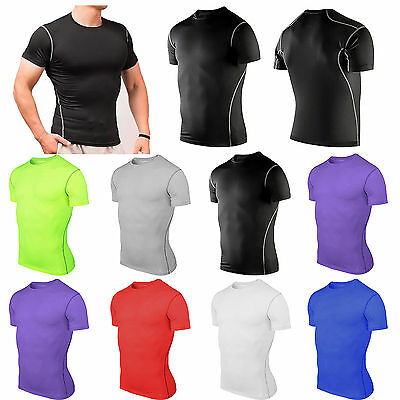 Men Compression Baselayer Short Armour Thermal Under Skin Training T-Shirt Tight